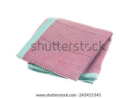 Textile handkerchief isolated on white background  - stock photo