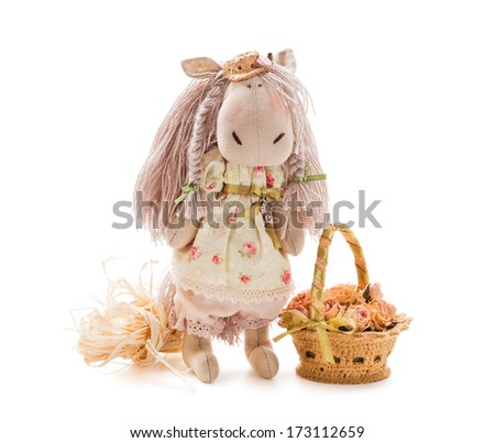 Textile handmade toy on white background - horse