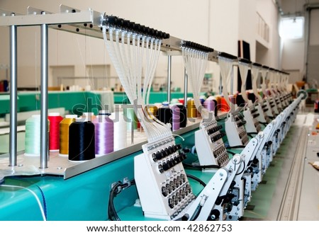 Textile: Industrial Embroidery Machine - stock photo