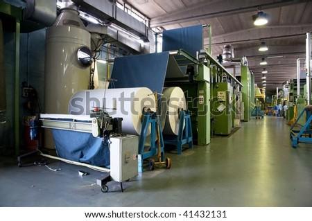 Textile industry (denim) - Department finishing - stock photo