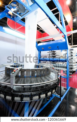 Textile industry - Weaving and warping - stock photo