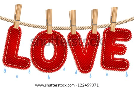 Textile LOVE word drying on a clothesline. Raster version. Vector is also available in my gallery - stock photo