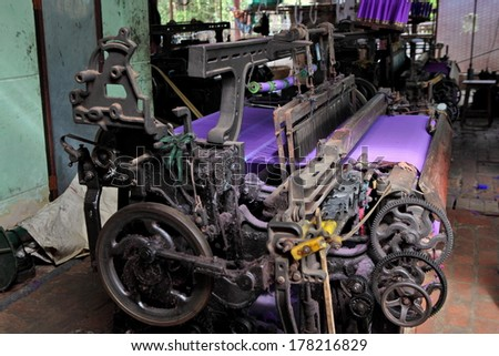 Textile Production  - old machine - stock photo