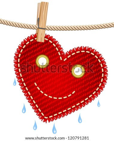 Textile red heart drying on a clothesline. Raster version. Vector is also available in my gallery - stock photo