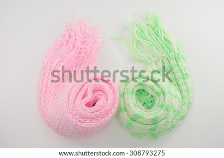 Textile scarf isolated on white background,pink,green - stock photo