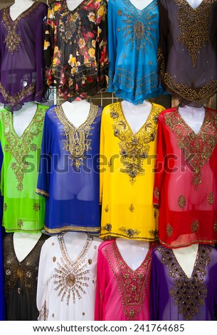 Textile souk (market) in Dubai, United Arab Emirates - stock photo
