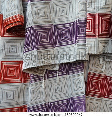 Textile with squares pattern. Fabric abstract background. - stock photo