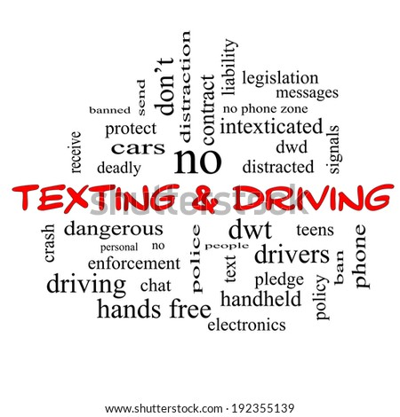 Texting and Driving Word Cloud Concept in red caps with great terms such as deadly, cars, teens and more.