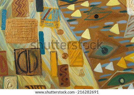 Texture, background and Colorful Image of an original Abstract Painting,oil on Canvas - stock photo