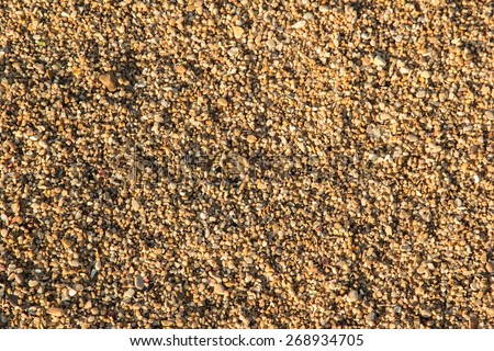 Texture background image of sea sand and sun. Blurred picture with: partly visible texture of small stones and sand seashore lit by light rays of the evening sun. Beach, seashore. Support of the text. - stock photo