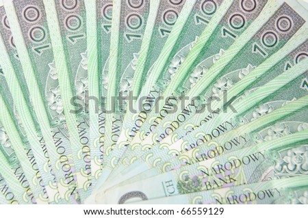 Texture background made of polish 100 pln banknotes - stock photo