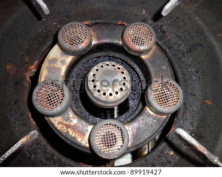 Texture background surface old rusty stove gas - stock photo