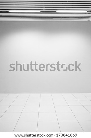 Texture blank wall with floor - stock photo