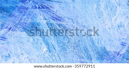 Texture blue, oil palette knife on a white canvas. Detailed blue background oil painting - stock photo