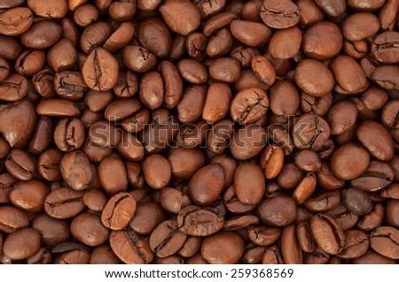Texture coffee beans closeup. Coffee background  - stock photo