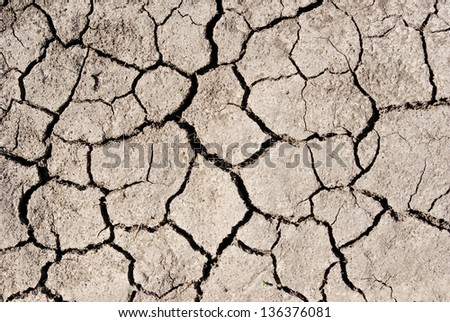Texture cracked ,dry the surface of the earth - stock photo