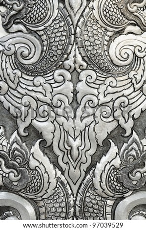 Texture Decorative Art of Lanna Thai. Engraving of the silver value. - stock photo
