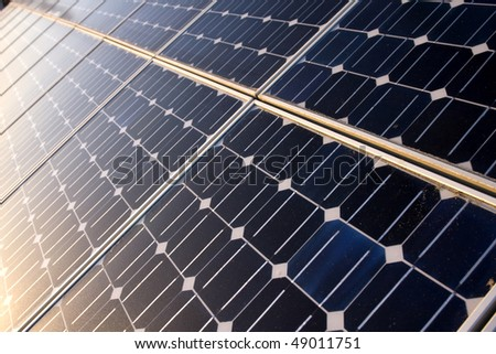Texture detail of photoelectric cells of a solar panel (Blue and ecology energy) - stock photo