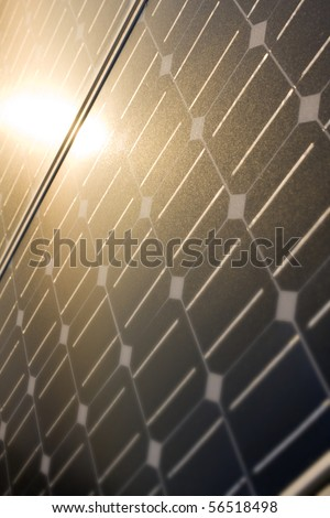 Texture detail of photoelectric cells of a solar panel -Blue and ecology energy. (Photographed with shallow DOF, selective focus) - stock photo