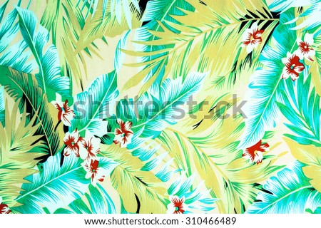 texture fabric Vintage Hawaiian flowers and leaves for background - stock photo