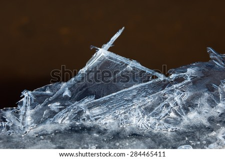 texture.  ice. Frozen ice on the river. - stock photo
