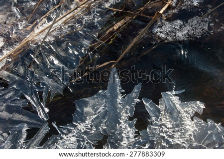 Texture Ice frozen in a puddle - stock photo