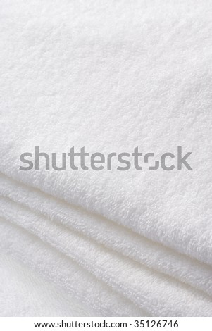 TEXTURE IMAGE- close-up view of the white towel - stock photo