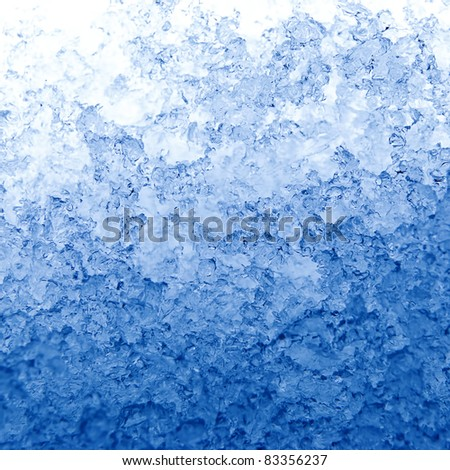 Texture in the form of melting snow with a blue tinted