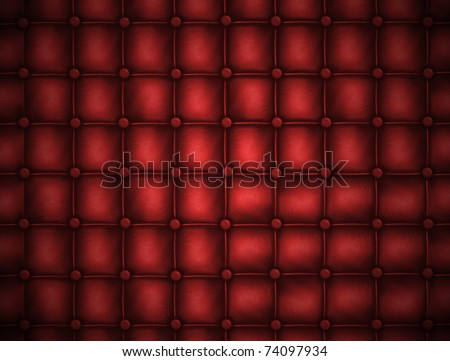 Texture leather quilted a sofa. Rd color.Highly detailed surface of a leather sofa. - stock photo