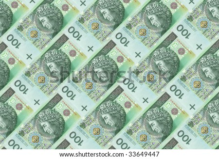 Texture made of one hundred Polish bank notes - stock photo
