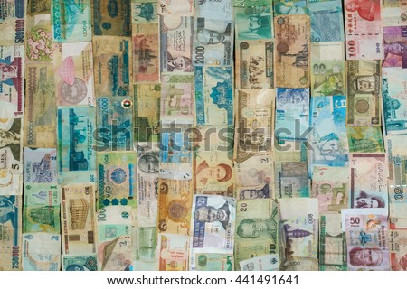 Texture money, real international money, old banknotes, money background from different countries, business background, a lot of money, international currency - stock photo