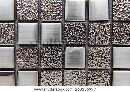 texture mosaic tiles, texture mosaic for the bathroom to the kitchen, floor and walls, used to repair the premises, structure design decor. Metal shiny surface - stock photo