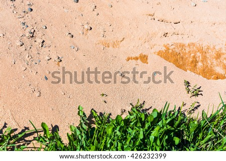 texture of a light tan sand and stones with grass - stock photo