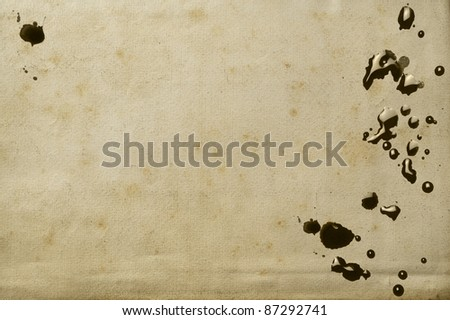 texture of a paper sheet of an antique book with ink stains - stock photo