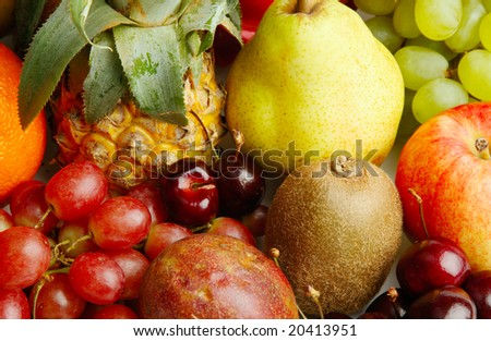 Texture of assorted colorful fruits