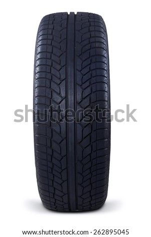 Texture of black rubber tire, isolated over white background - stock photo