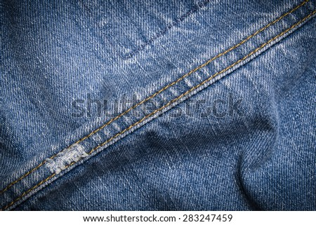 texture of blue jeans with seams - stock photo