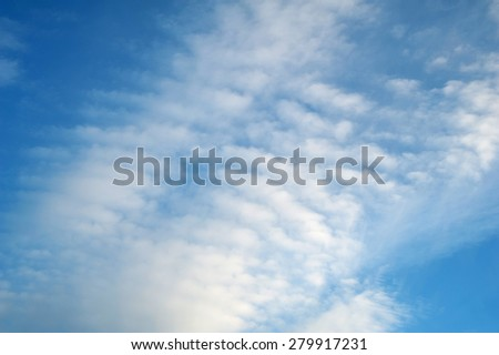Texture of blue sky with many clouds - stock photo