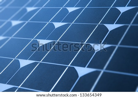 Texture of blue solar panels for your backgrounds - stock photo