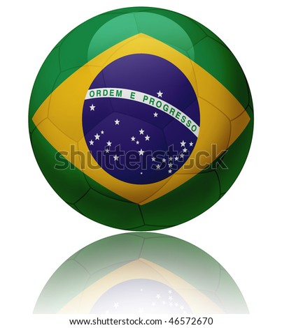 Texture of Brazil flag on glossy soccer ball - stock photo