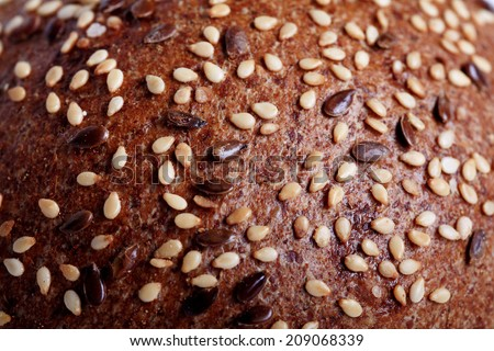 texture of bread with cereals - stock photo
