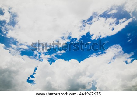 Texture of bright blue dramatic cloudy sky - stock photo