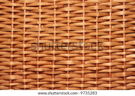 Texture of brown wicker basket close-up - stock photo