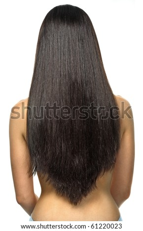 Texture of brunette long hair - stock photo