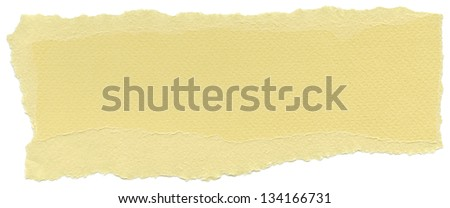 Texture of buff yellow fiber paper with torn edges. Isolated on white background. - stock photo