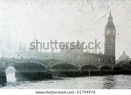 texture of canvas with  Buildings of Parliament.  Buildings of Parliament with Big Ben  tower in London UK view from Themes river. - stock photo