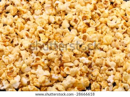 Texture of caramel popcorn. - stock photo