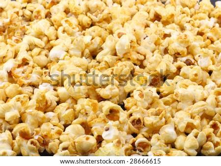 Texture of caramel popcorn. Close-up. - stock photo