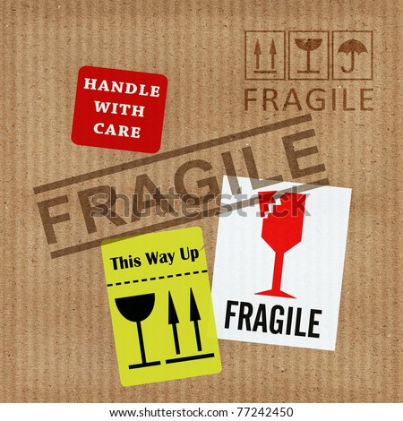 Packaging Fragile Stickers Handle Care This Stock Vector ...