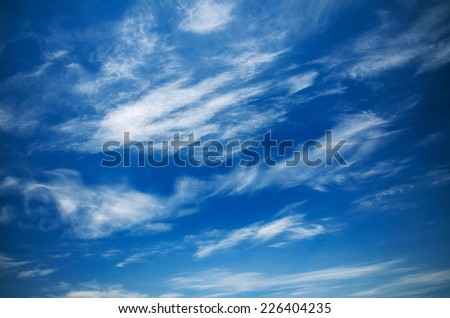 Texture of cirrus clouds on a sunny day. natural composition - stock photo